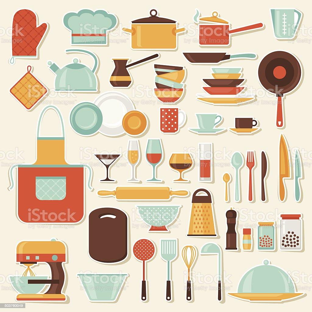 Ilustra o de cozinha e restaurante cone conjunto de for Utensilios de restaurante