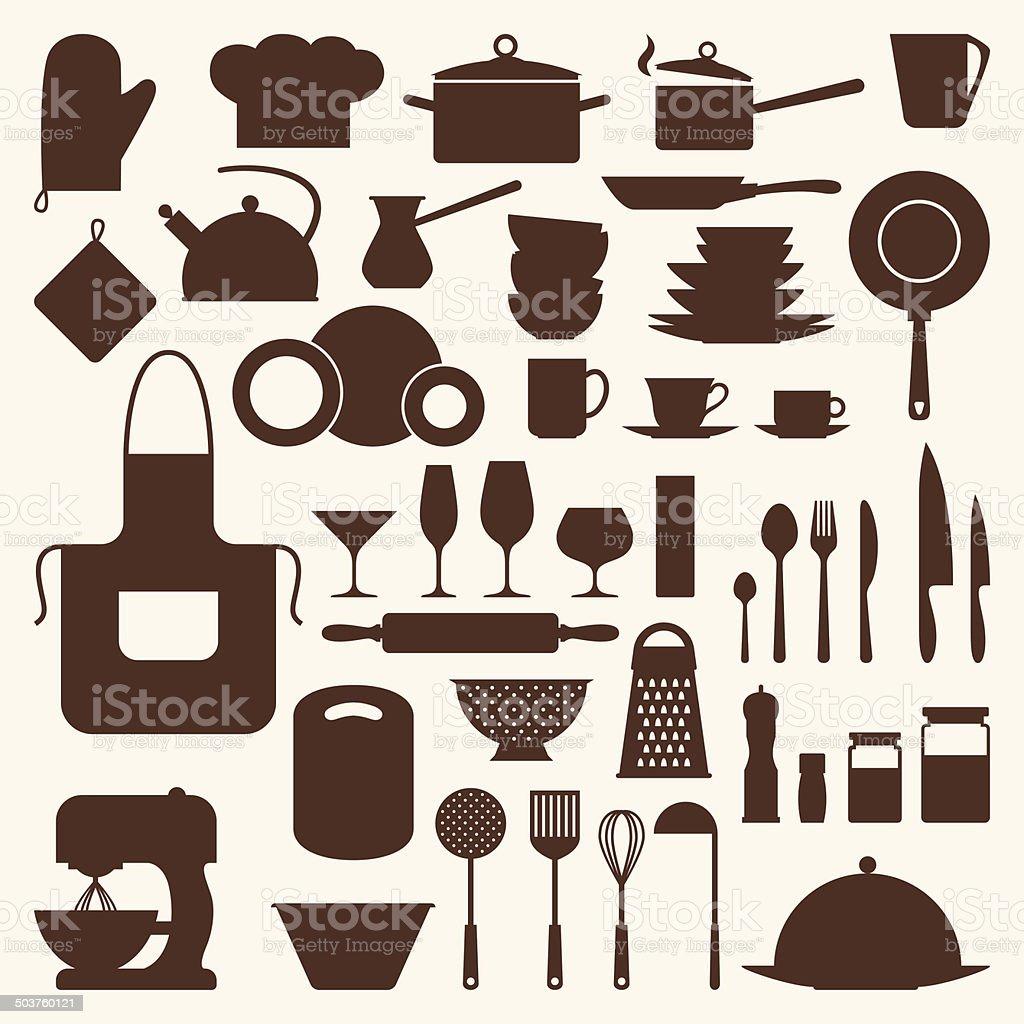 Küche Und Im Restaurant Icon Set An Küchenutensilien Stock Vektor ...