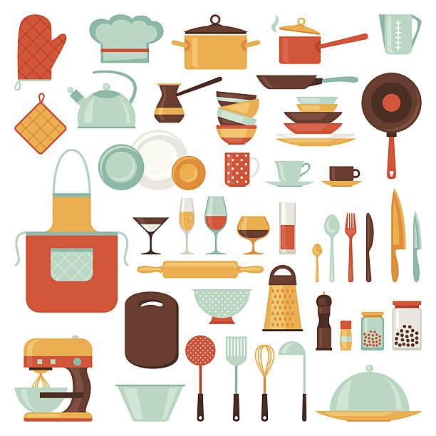 Kitchen and restaurant icon set of utensils. Kitchen and restaurant icon set of utensils. cooking clipart stock illustrations
