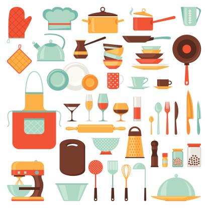 Icone Di Cucina E Ristorante Set Di Utensili - Immagini vettoriali stock e altre immagini di Affari