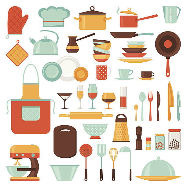 stockillustraties, clipart, cartoons en iconen met kitchen and restaurant icon set of utensils. - bord serviesgoed