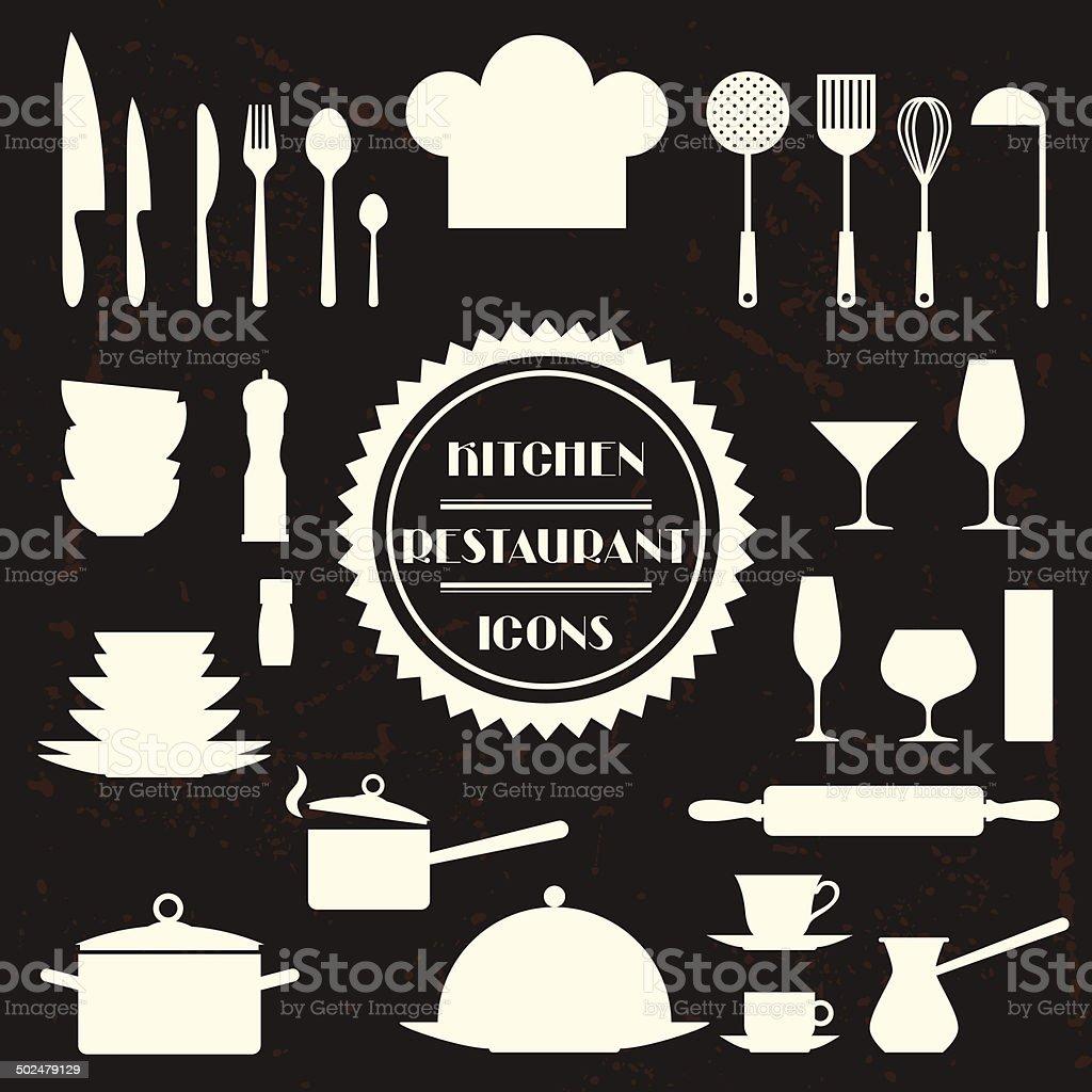 Ilustraci n de iconos de la cocina y el restaurante juego for Utensilios de restaurante