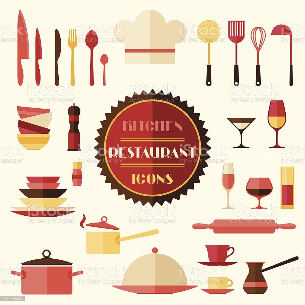 Cozinha e restaurante cones conjunto de utens lios de for Utensilios de restaurante