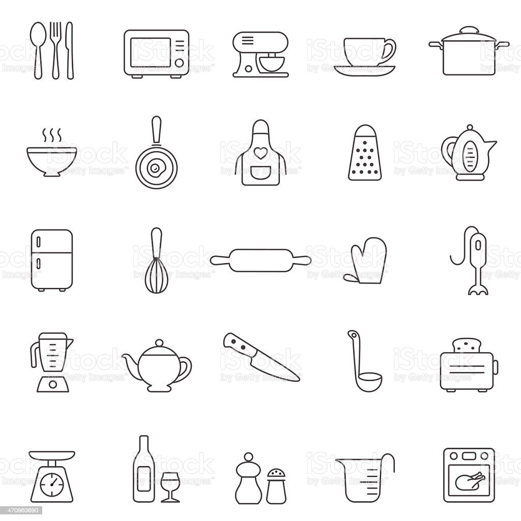 Kitchen and Utensil line icon set. Vector vector art illustration