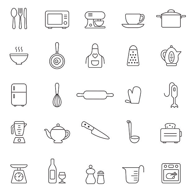 Kitchen and Utensil line icon set. Vector Kitchen and Utensil line icons for your design and application. grater utensil stock illustrations