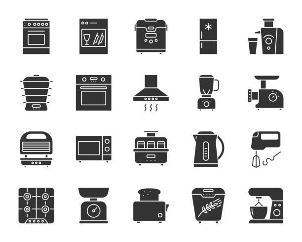 ilustrações de stock, clip art, desenhos animados e ícones de kitchen appliance black silhouette icon vector set - baking bread at home