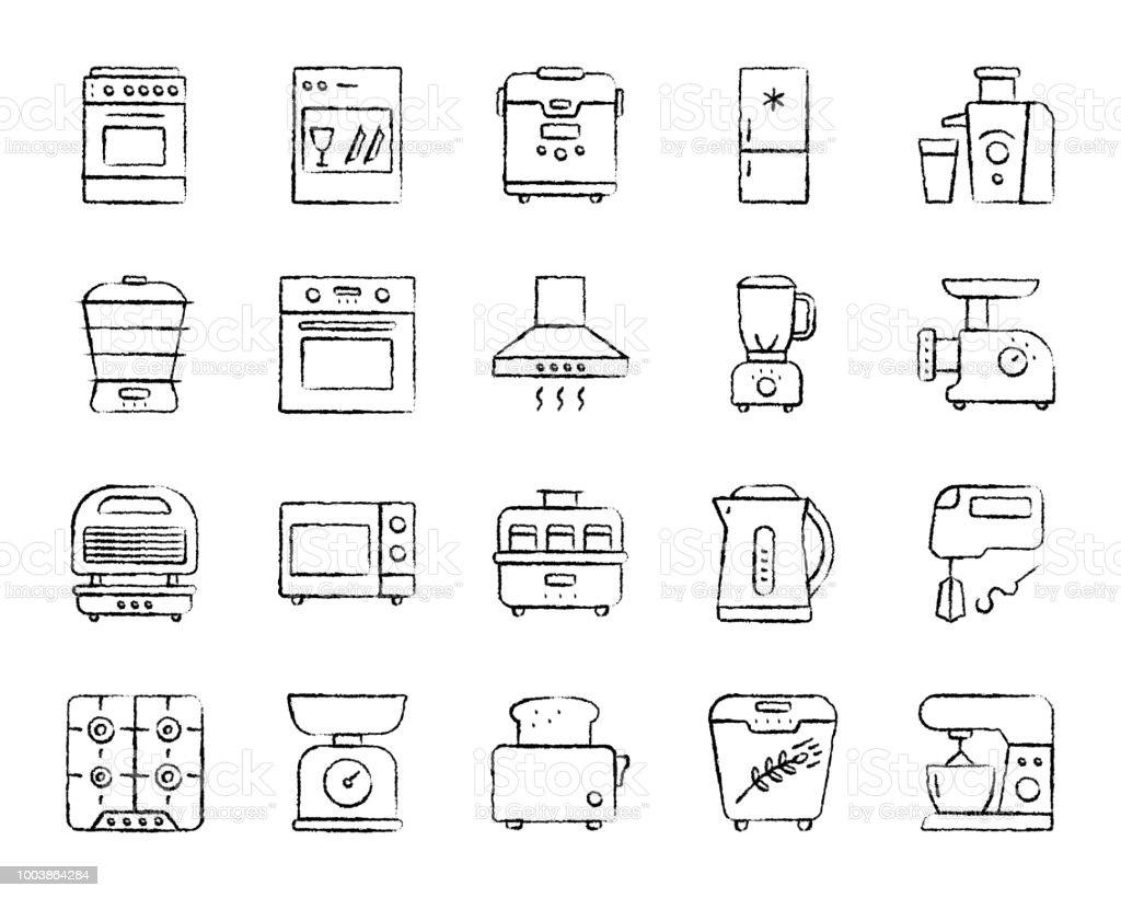 Keuken toestel houtskool lijn iconen vector set - Royalty-free Apparatuur vectorkunst