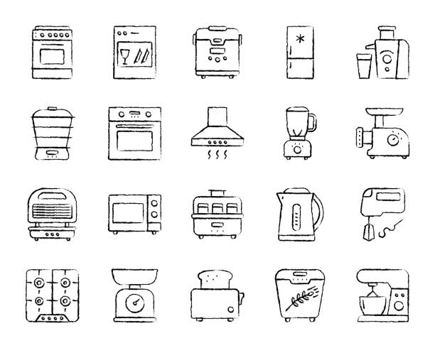 Kitchen Appliance charcoal line icons vector set Kitchen Appliance charcoal icons set. Outline web sign kit of equipment. Electronics linear icon collection includes shaker, scales, mixer. Simple hand drawn kitchen black symbol. Vector Illustration oven stock illustrations