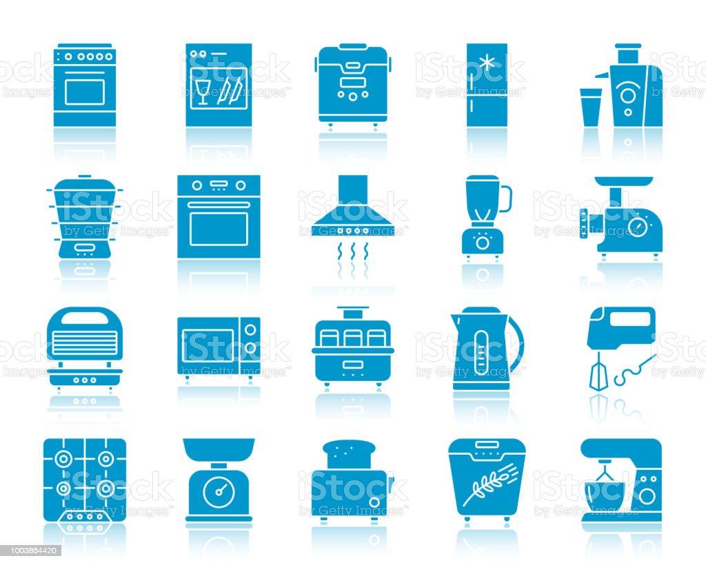 Kitchen Appliance color silhouette icon vector set vector art illustration