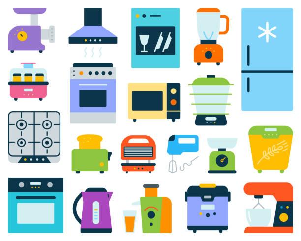 ilustrações de stock, clip art, desenhos animados e ícones de kitchen appliance equipment flat color vector set - baking bread at home