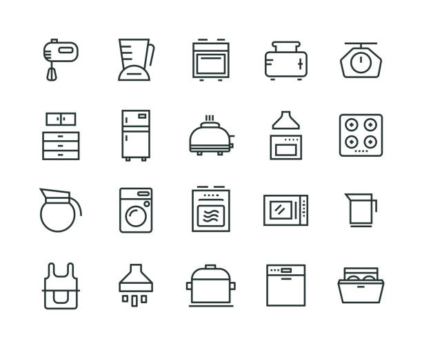 Kitchen Appliance Icon Set Kitchen Appliance Icon Set stove stock illustrations