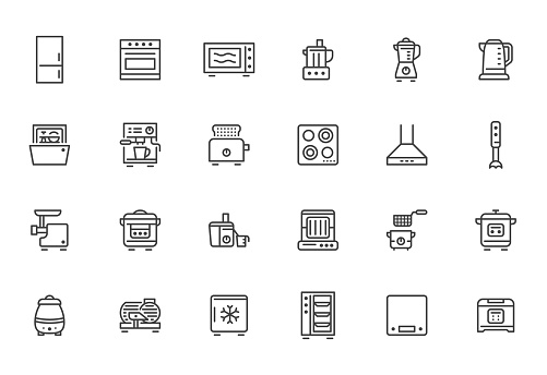 Kitchen appliance line icon set. Oven, mixer, dishwasher, food processor, combi steamer minimal vector illustrations. Simple outline signs of cooking equipment. Pixel Perfect. Editable Strokes