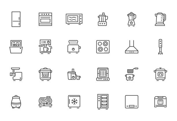 Kitchen appliance line icon set. Oven, mixer, dishwasher, food processor, combi steamer minimal vector illustrations. Simple outline signs of cooking equipment. Pixel Perfect. Editable Strokes Kitchen appliance line icon set. Oven, mixer, dishwasher, food processor, combi steamer minimal vector illustrations. Simple outline signs of cooking equipment. Pixel Perfect. Editable Strokes. cooking symbols stock illustrations