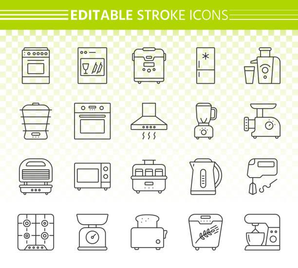 küche gerät einfache linie symbole vektor-set - küchenmixer stock-grafiken, -clipart, -cartoons und -symbole
