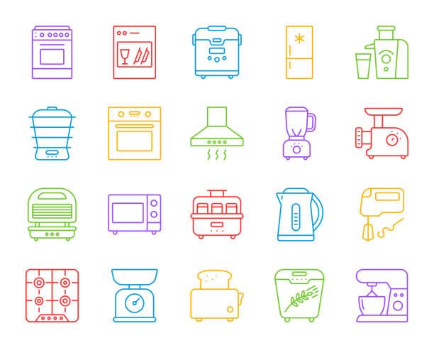 ilustrações de stock, clip art, desenhos animados e ícones de kitchen appliance simple line icons vector set - baking bread at home
