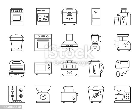 Kitchen Appliance thin line icons set. Outline web sign kit of equipment. Electronics linear icon collection includes blender, juicer, gas. Isolated simple kitchen black symbol vector Illustration