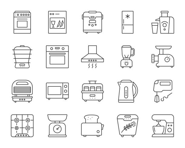 illustrazioni stock, clip art, cartoni animati e icone di tendenza di kitchen appliance simple line icons vector set - cucina domestica