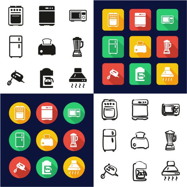 küchengeräte, die alle in einem icons schwarz & weiß flach farbe design freihand-set - küchensystem stock-grafiken, -clipart, -cartoons und -symbole
