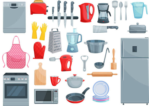 Kitchen appliances and dishware vector icons set Kitchen utensil, kitchenware and home appliances icons. Vector set of refrigerator, dishwasher or microwave oven and mixer, grater or frying pan and saucepan, dishware ladle spoon and rolling pin grater utensil stock illustrations