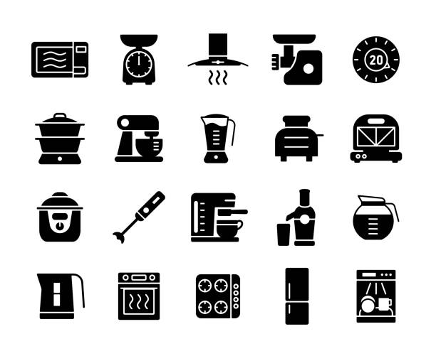 Kitchen appliances electronic equipment icon set Kitchen appliances electronic electrical equipment tool vector icon glyph set. Graph symbol for cooking web site and apps design, logo, app, UI dishwashing machine stock illustrations