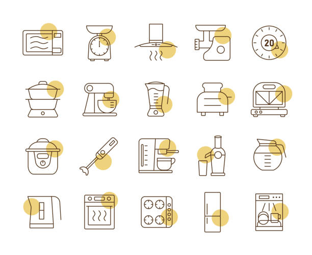 Kitchen appliances electronic equipment icon set Kitchen appliances electronic electrical equipment tool vector icon set. Graph symbol for cooking web site and apps design, logo, app, UI dishwashing machine stock illustrations