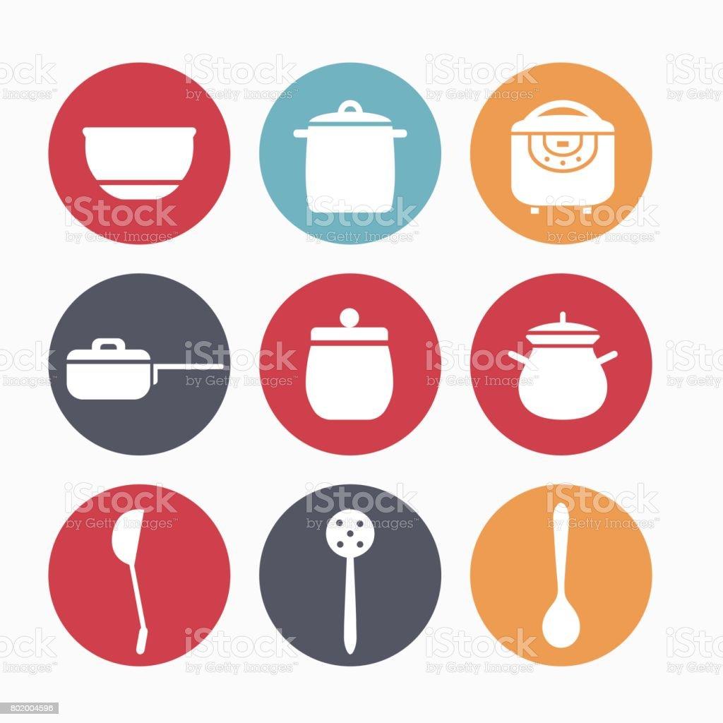 Kitchen appliances for cooking vector art illustration