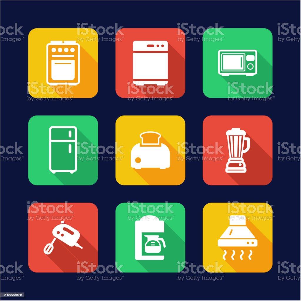 Ilustraci n de iconos de dise o plano electrodom sticos cocina y m s banco de im genes de - Electrodomesticos de diseno ...