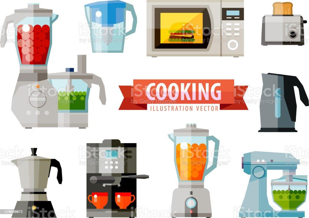Cocina De Iconos Plana Electrodomésticos De Eficacia Vector ...