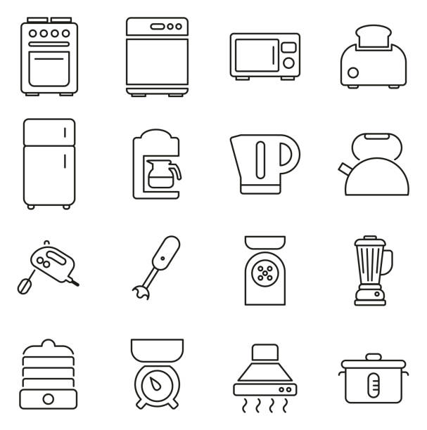 Kitchen Appliances Icons Thin Line Vector Illustration Set This image is a vector illustration and can be scaled to any size without loss of resolution. refrigerator stock illustrations