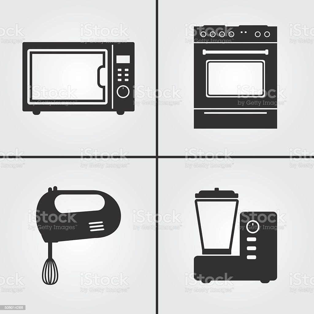 Kitchen Appliances Icons Stock Vector Art & More Images of Appliance ...
