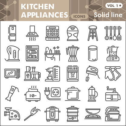 Kitchen appliances line icon set, kitchenware symbols collection or sketches Kitchen equipment linear style signs for web and app. Vector graphics isolated on white background.