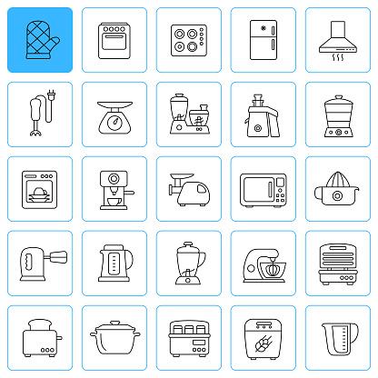Kitchen Appliances Line Icons. Editable Stroke.
