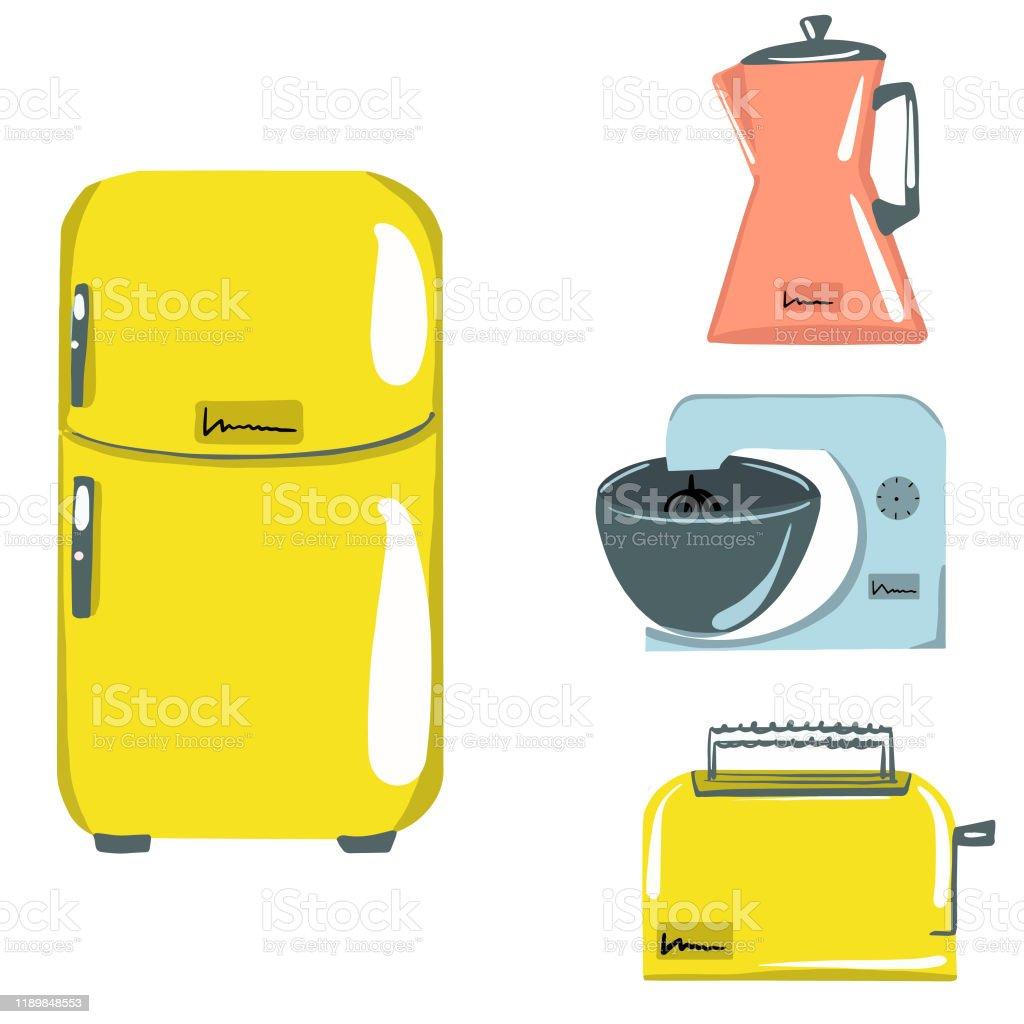 Kitchen appliances. Refrigerator. Planetary mixer. Toaster. Kettle....