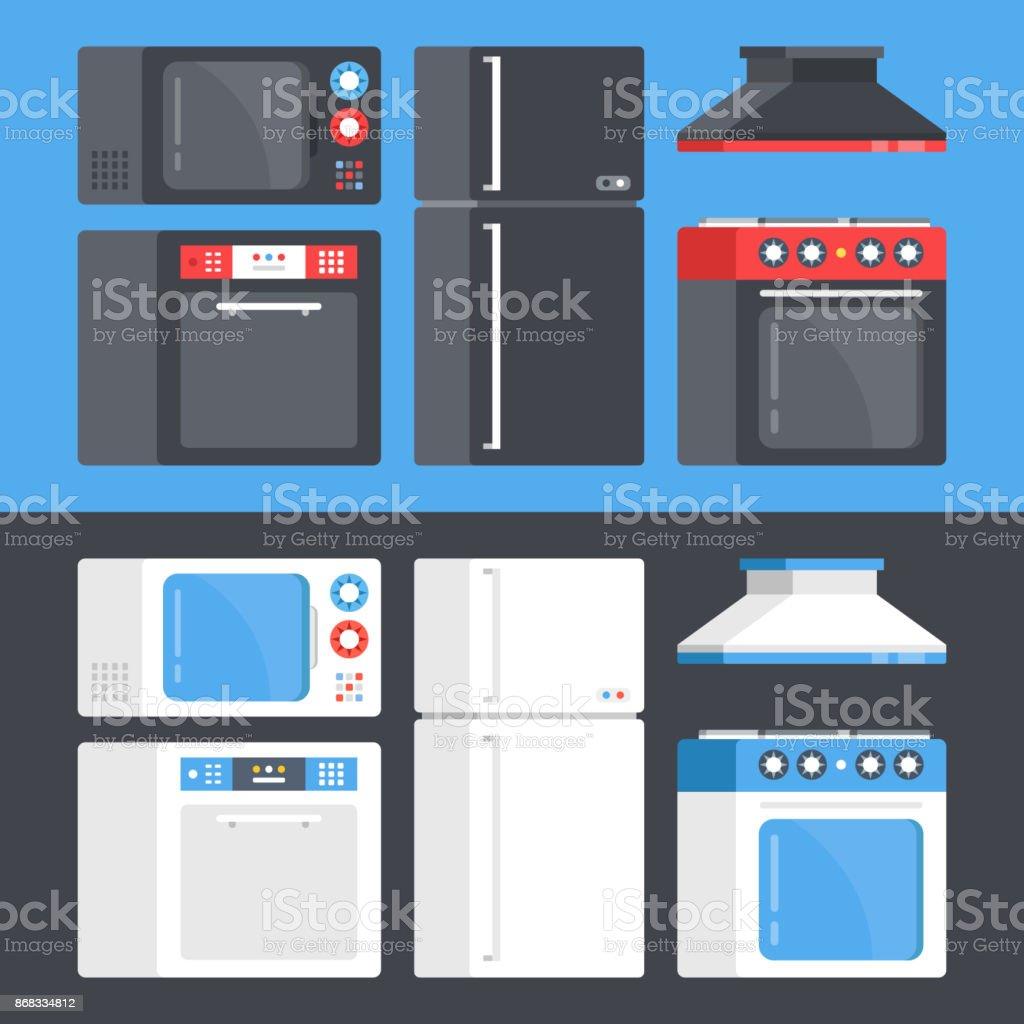 Kitchen Appliances Set Microwave Oven Dishwasher Refrigerator ...
