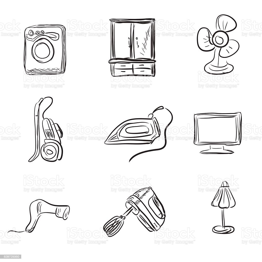 Küchengeräte Skizze Stil Vektorillustration Vektor Illustration ...