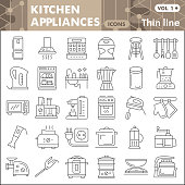 Kitchen appliances thin line icon set, kitchenware symbols collection or sketches Kitchen equipment linear style signs for web and app. Vector graphics isolated on white background