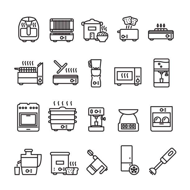 ilustrações de stock, clip art, desenhos animados e ícones de kitchen appliances thin line icon set. vector. - baking bread at home