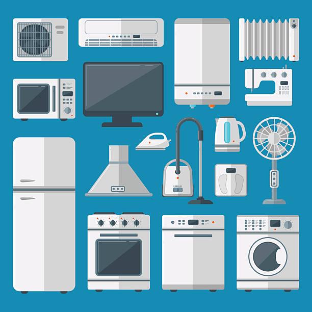 kitchen appliances vector set - haushaltsmaschine stock-grafiken, -clipart, -cartoons und -symbole