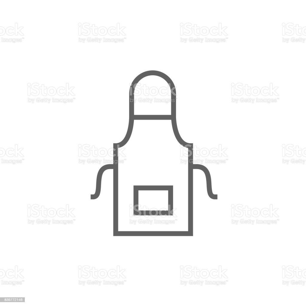 Kitchen apron line icon vector art illustration