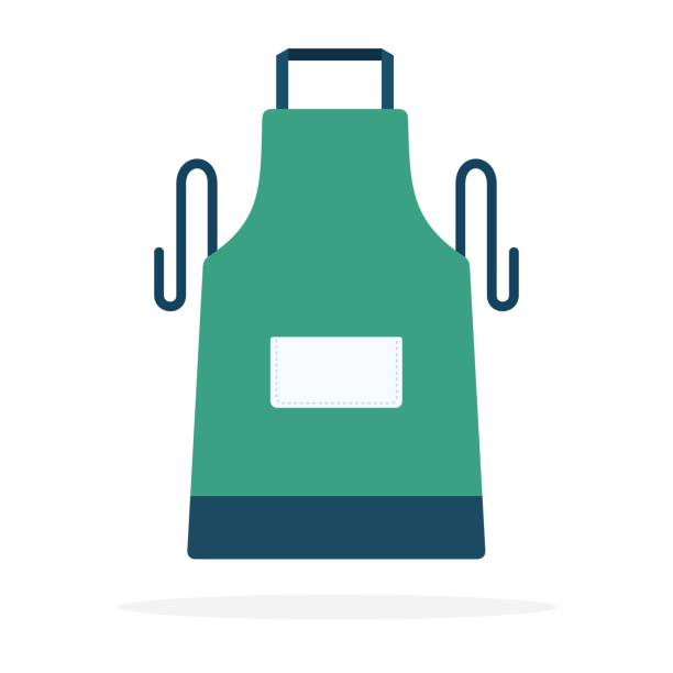 Kitchen apron vector flat material design isolated object on white background. vector art illustration