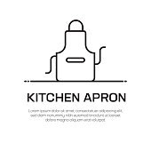 Kitchen Apron Vector Line Icon - Simple Thin Line Icon, Premium Quality Design Element