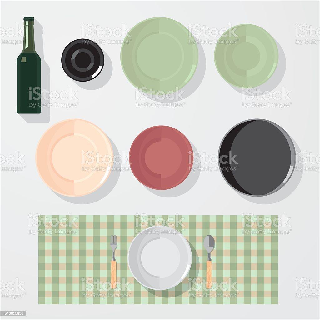 Kitchen Bar Restaurant Design Elements Mockup Stock Vector