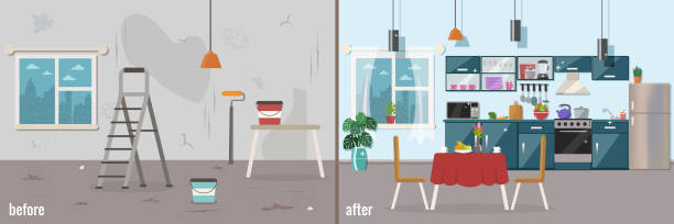 ilustrações de stock, clip art, desenhos animados e ícones de kitchen before and after repair. home interior renovation. - casa reforma