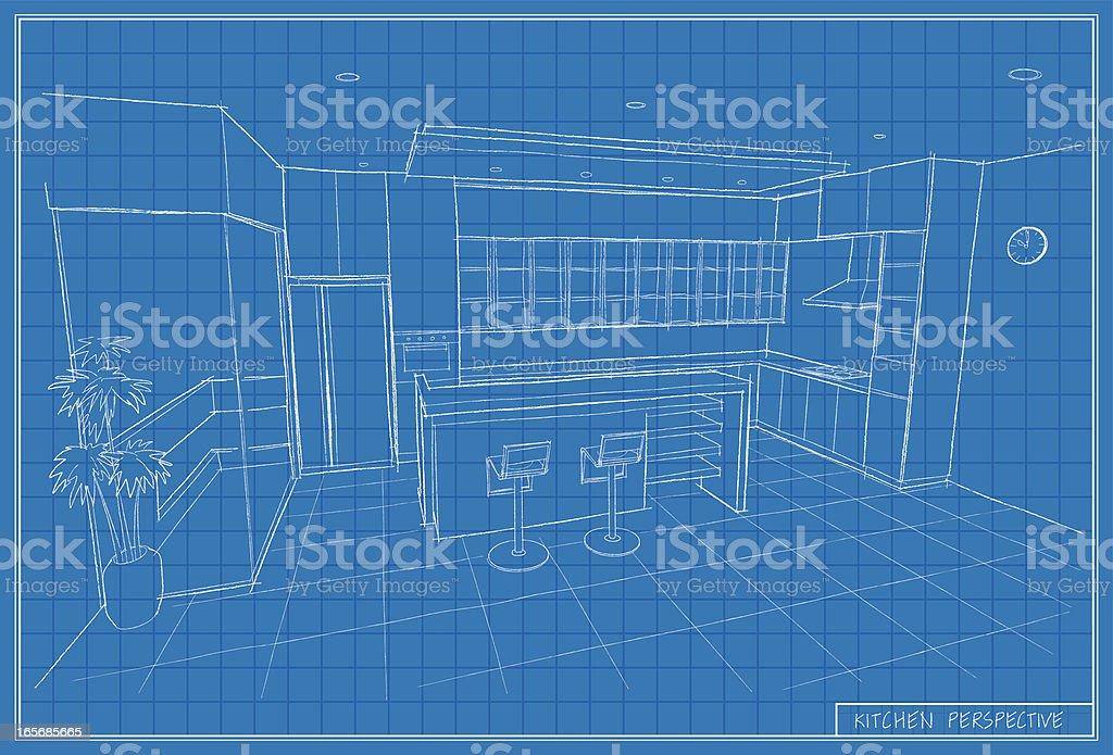 kitchen blueprint vector art illustration