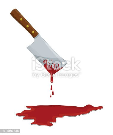 kitchen butcher chopper  with blood vector symbol icon design. Beautiful illustration isolated on white background