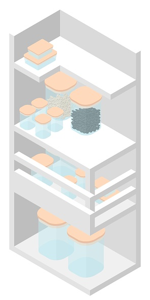Kitchen cabinet for storing utensils in isometric: cans with cereals.