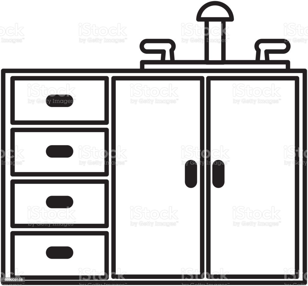 Kitchen Cabinet Clip Art: Kitchen Cabinet Isolated Icon Stock Vector Art & More