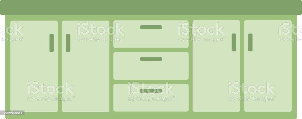 Küchenschrank Mit Schubladen Vektor Illustration 836683884   iStock