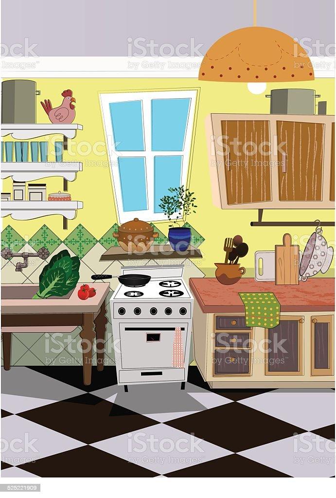 kitchen cartoon style background stock vector art more. Black Bedroom Furniture Sets. Home Design Ideas