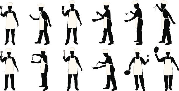 Kitchen chief silhouettes  cooking silhouettes stock illustrations